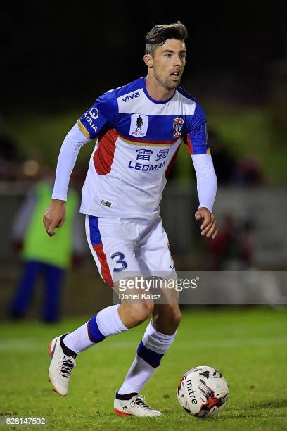Jason Hoffman of Newcastle controls the ball during the round of 32 FFA Cup match between Adelaide United and the Newcastle Jets at Coopers Stadium...