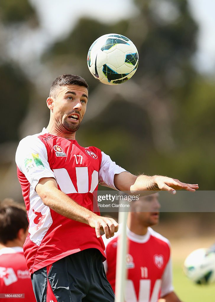 Jason Hoffman of the Heart heads the ball during a Melbourne Heart A-League training session at La Trobe University Sports Fields on February 1, 2013 in Melbourne, Australia.