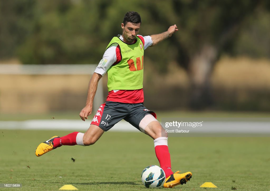 Jason Hoffman of the Heart looks to pass the ball during a Melbourne Heart A-League training session at La Trobe University Sports Fields on February 21, 2013 in Melbourne, Australia.