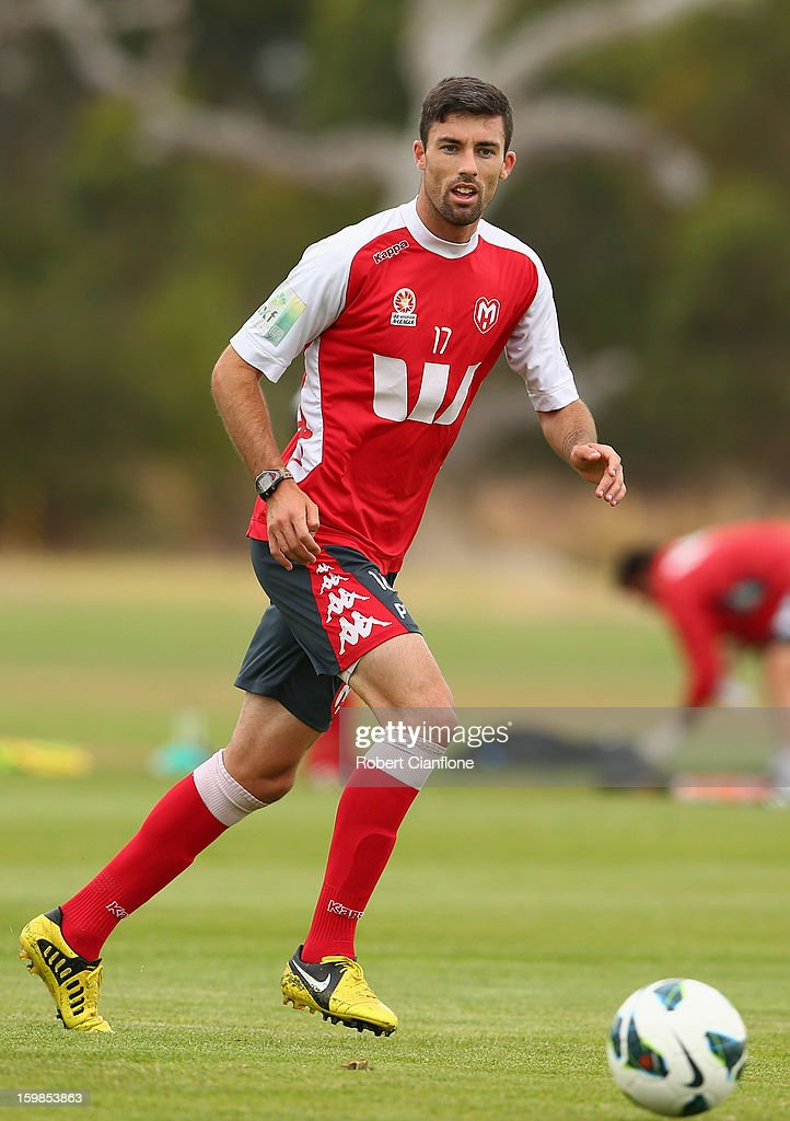 Jason Hoffman of the Heart runs with the ball during a Melbourne Heart A-League training session at La Trobe University Sports Fields on January 22, 2013 in Melbourne, Australia.