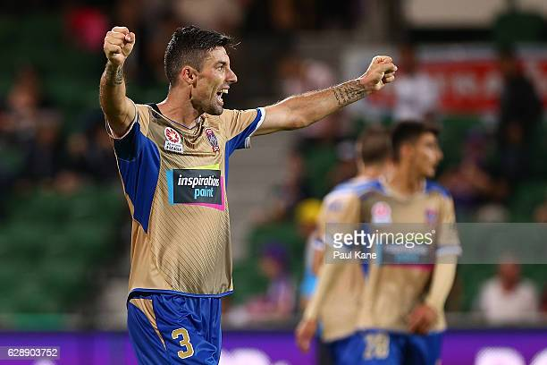 Jason Hoffman of the Jets celebrates after the final whistle during the round 10 ALeague match between the Perth Glory and the Newcastle Jets at nib...