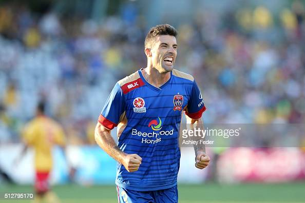 Jason Hoffman of the Jets celebrates the win during the round 21 ALeague match between the Central Coast Mariners and the Newcastle Jets at Central...