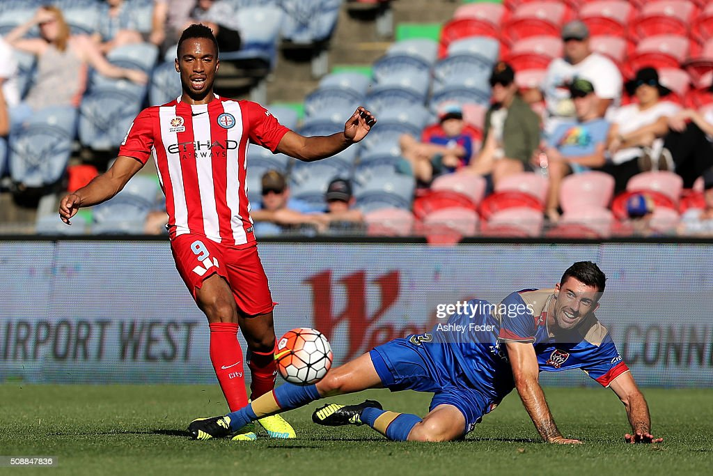 Jason Hoffman of the Jets contests the ball against Harry Novillo of Melbourne City during the round 18 A-League match between the Newcastle Jets and Melbourne City FC at Hunter Stadium on February 7, 2016 in Newcastle, Australia.