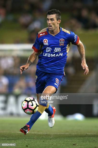 Jason Hoffman of the Jets controls the ball during the round 19 ALeague match between the Newcastle Jets and Melbourne Victory at McDonald Jones...