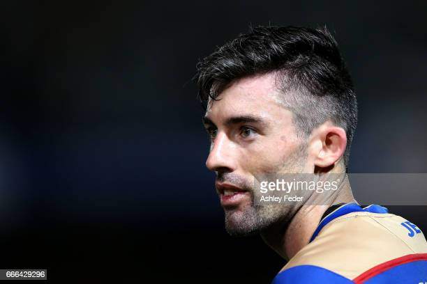 Jason Hoffman of the Jets during the round 26 ALeague match between the Central Coast Mariner and the Newcastle Jets at Central Coast Stadium on...