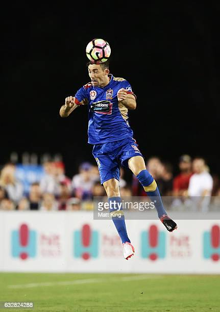 Jason Hoffman of the Jets heads the ball during the round 17 ALeague match between the Newcastle Jets and Melbourne City at Coffs Harbour...