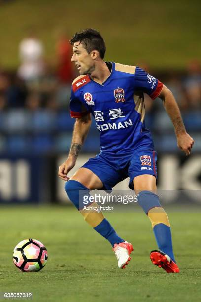 Jason Hoffman of the Jets in action during the round 19 ALeague match between the Newcastle Jets and Melbourne Victory at McDonald Jones Stadium on...