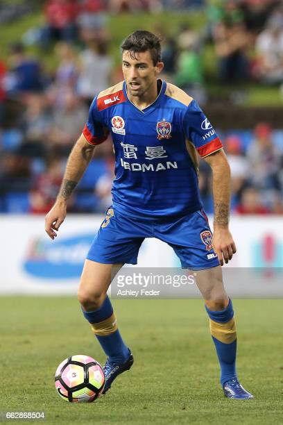 Jason Hoffman of the Jets in action during the round 25 ALeague match between the Newcastle Jets and the Western Sydney Wanderers at McDonald Jones...