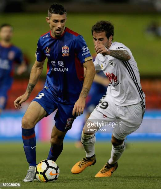 Jason Hoffman of the Jets in action during the round five ALeague match between the Newcastle Jets and the Wellington Phoenix at McDonald Jones...