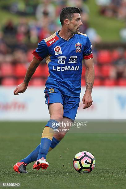 Jason Hoffman of the Jets in action during the round one ALeague match between the Newcastle Jets and Adelaide United at Hunter Stadium on October 9...