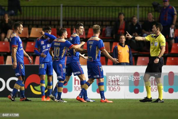 Jason Hoffman of the Jets is sent off during the round 22 ALeague match between the Newcastle Jets and the Brisbane Roar at McDonald Jones Stadium on...