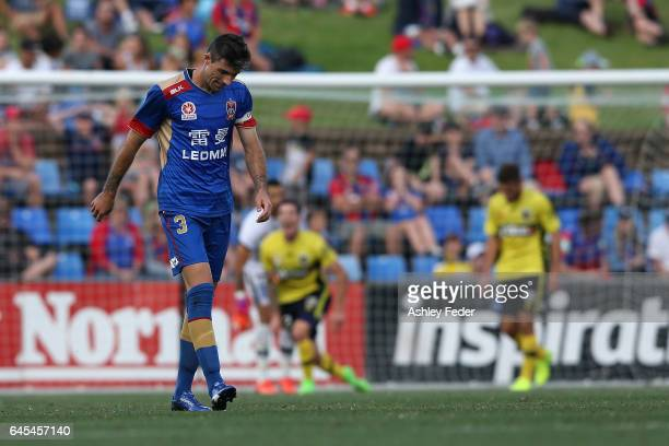 Jason Hoffman of the Jets looks dejected during the round 21 ALeague match between the Newcastle Jets and the Central Coast Mariners at McDonald...