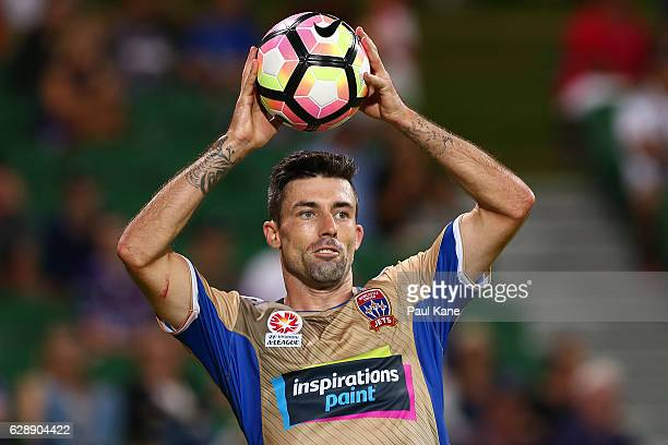 Jason Hoffman of the Jets prepares to throw the ball in during the round 10 ALeague match between the Perth Glory and the Newcastle Jets at nib...