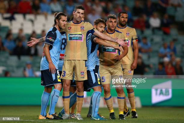 Jason Hoffman of the Jets reacts during the round seven ALeague match between Sydney FC and Newcastle Jets at Allianz Stadium on November 18 2017 in...