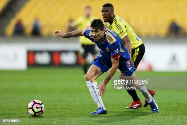 Jason Hoffman of the Jets wins the ball from Roly Bonevacia of the Phoenix during the round 24 ALeague match between Wellington Phoenix and Newcastle...