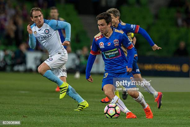 Jason Hoffman of the Newcastle Jets controls the ball during the 6th round of the Hyundai ALeague between Melbourne City and the Newcastle Jets on...