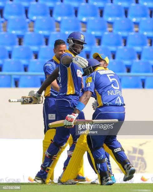 Jason Holder and Ashley Nurse Barbados Tridents celebrate winning the match between Antigua Hawksbills and Barbados Tridents as part of the week 2 of...