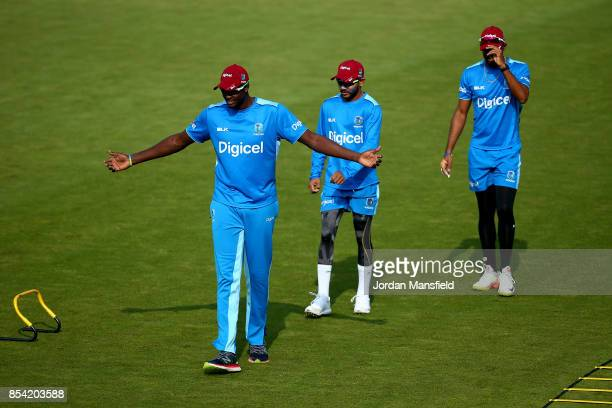 Jason Holder Devendra Bishoo and Kyle Hope of the West Indies speaks to the press during the England West Indies Nets Session at The Kia Oval on...