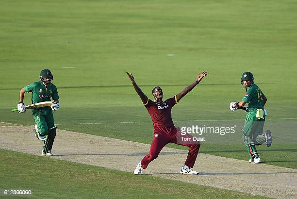 Jason Holder of West Indies appeals during the third One Day International match between Pakistan and West Indies at Zayed Cricket Stadium on October...