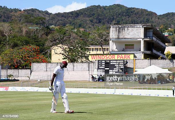 Jason Holder of West Indies looks dejected after being dismissed by Mitchell Starc of Australia during day one of the First Test match between...