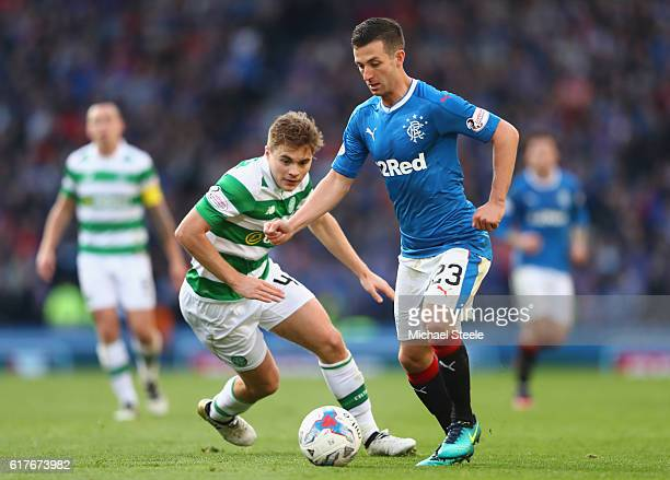 Jason Holt of Rangers tracked by James Forrest of Celtic during the Betfred Cup SemiFinal match between Rangers and Celtic at Hampden Park on October...