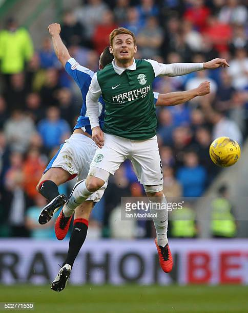 Jason Holt of Rangers vies with Fraser Fyvie of Hibernian during the Scottish Championship match between Hibernian and Rangers at Easter Road on...
