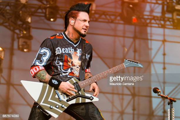 Jason Hook member of the band Five Finger Death Punch performs live on stage at Autodromo de Interlagos on May 13 2017 in Sao Paulo Brazil