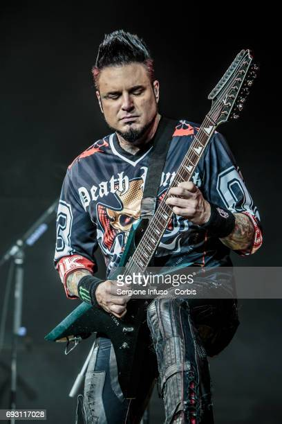 Jason Hook of American heavy metal band Five Finger Death Punch performs on stage at Alcatraz on June 6 2017 in Milan Italy