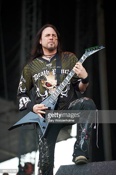 Jason Hook of Five Finger Death Punch perform on stage on day 1 of Download Festival at Donington Park on June 12 2009 in Donington England