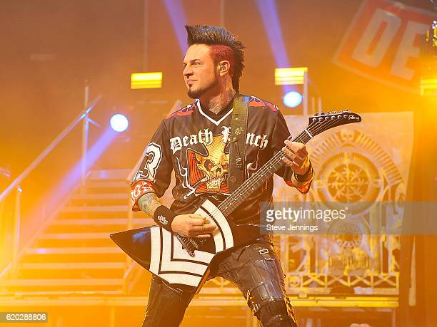 Jason Hook of Five Finger Death Punch performs on Halloween night at SAP Center on October 31 2016 in San Jose California
