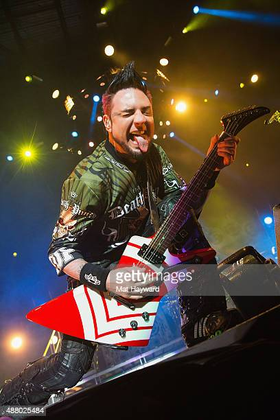 Jason Hook of Five Finger Death Punch performs on stage at Xfinity Arena on September 12 2015 in Everett Washington