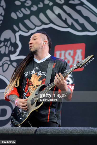 Jason Hook of Five Finger Death Punch performs on stage during day 1 of the Pinkpop festival on June 3 2017 in Landgraaf Netherlands