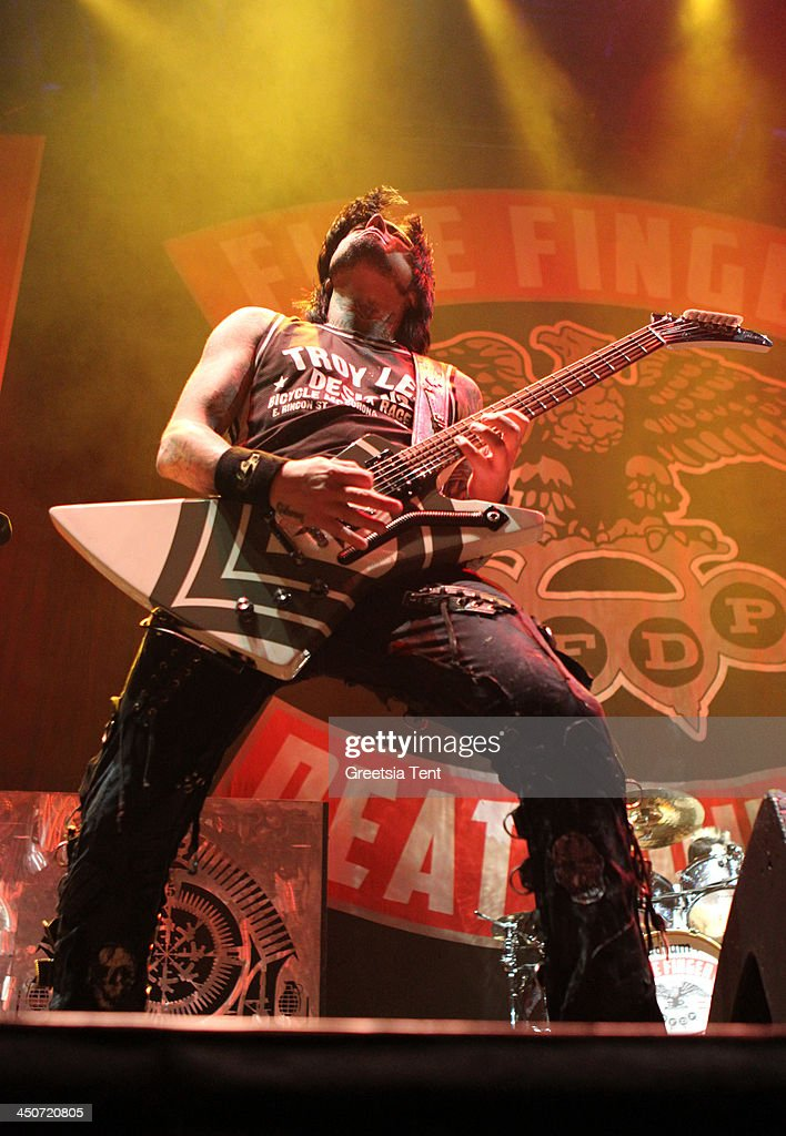 Jason Hook of Five Finger Death Punch performs supporting Avenged Sevenfold at the Ziggo Dome on November 19, 2013 in Amsterdam, Netherlands.
