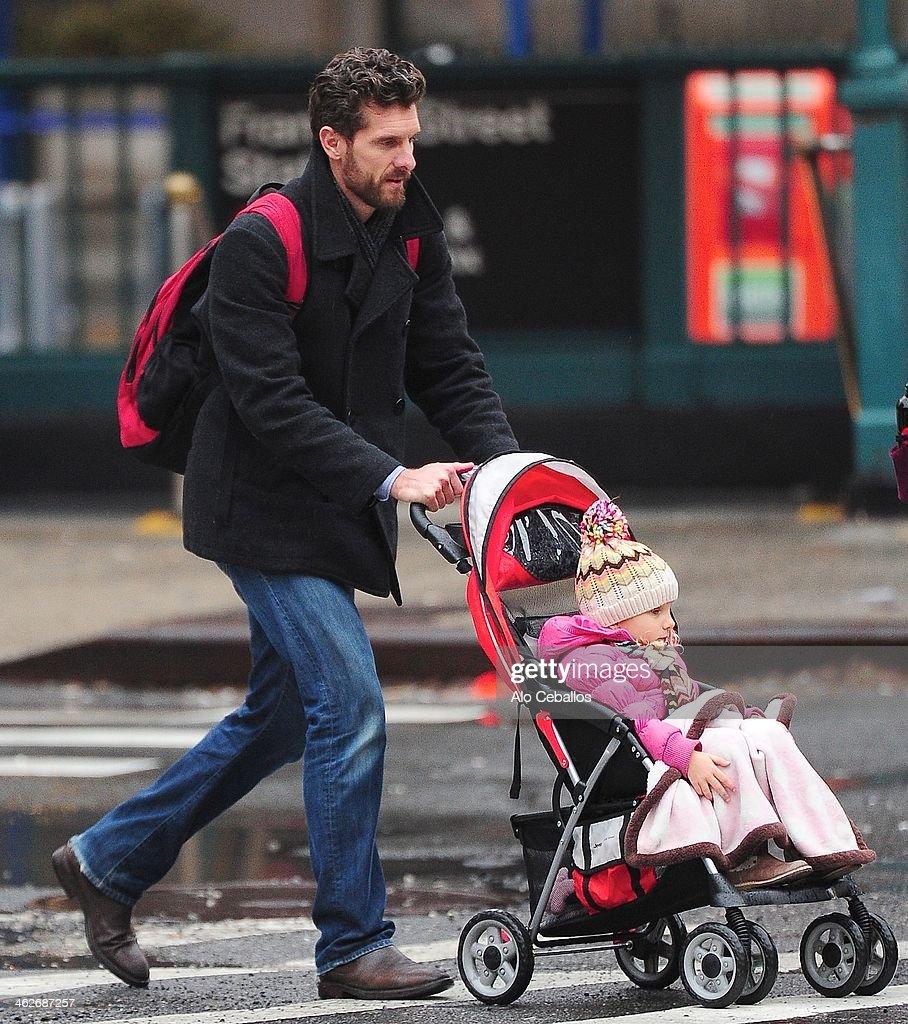 Jason Hoppy and Bryn Hoppy are seen in Tribeca on January 14 2014 in New York City