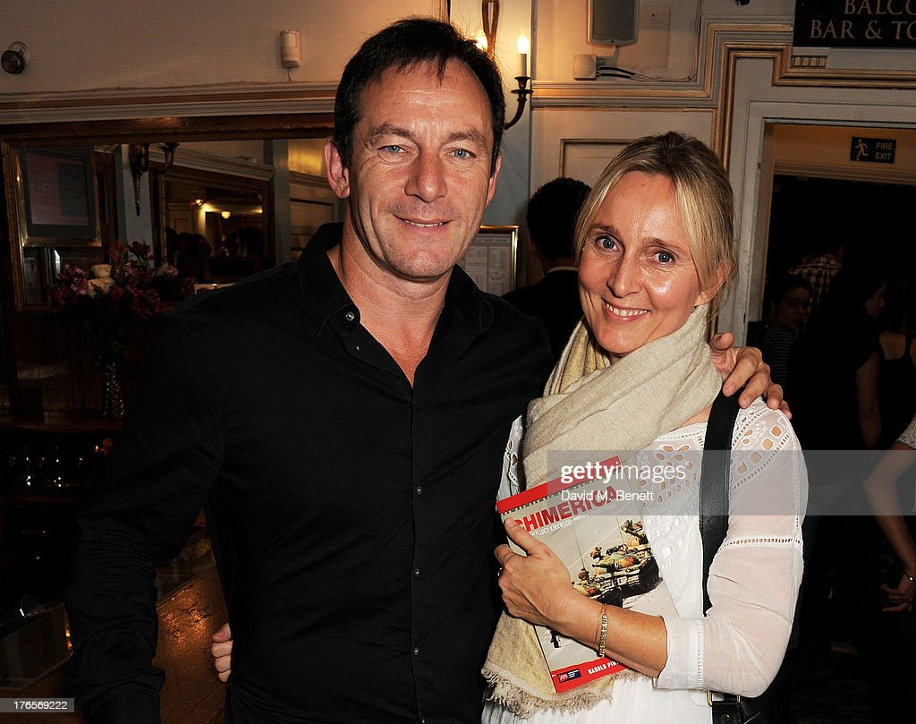 <a gi-track='captionPersonalityLinkClicked' href=/galleries/search?phrase=Jason+Isaacs&family=editorial&specificpeople=212740 ng-click='$event.stopPropagation()'>Jason Isaacs</a> (L) and Emma Hewitt pose in the foyer following the press night performance of 'Chimerica' at the Harold Pinter Theatre on August 15, 2013 in London, England.