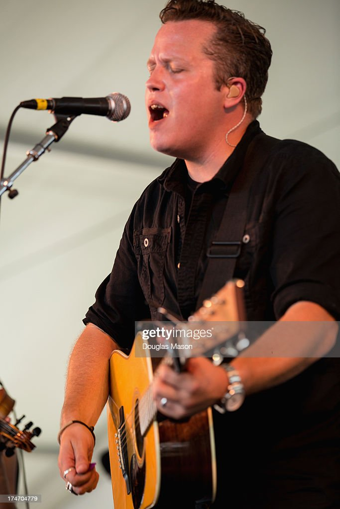 <a gi-track='captionPersonalityLinkClicked' href=/galleries/search?phrase=Jason+Isbell&family=editorial&specificpeople=558900 ng-click='$event.stopPropagation()'>Jason Isbell</a> performs during the 2013 Newport Folk Festival at Fort Adams State Park on July 27, 2013 in Newport, Rhode Island.