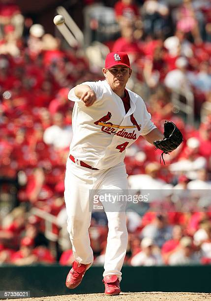 Jason Isringhausen of the St Louis Cardinals throws the ball to first for an out against the Milwaukee Brewers April 132006 at the Busch Stadium in...