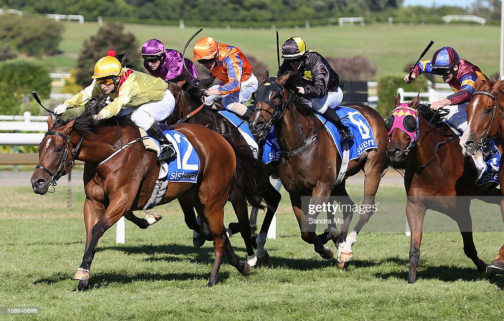 Jason Jago rides Fleur De Lune (L) to win the Sistema Railway Stakes at Ellerslie Racecourse on January 1, 2013 in Auckland, New Zealand.