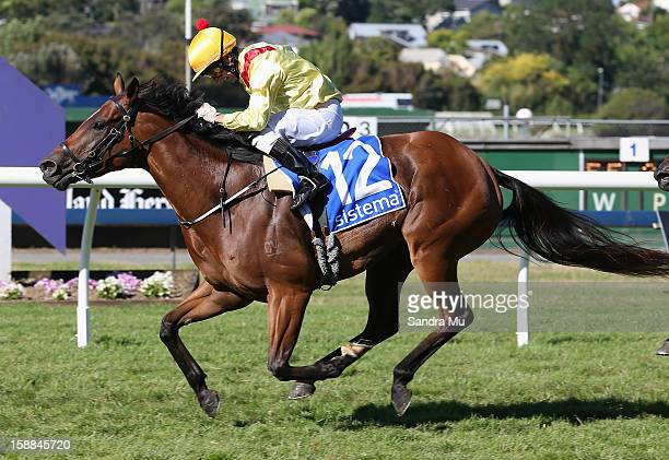 Jason Jago rides Fleur De Lune to win the Sistema Railway Stakes at Ellerslie Racecourse on January 1 2013 in Auckland New Zealand