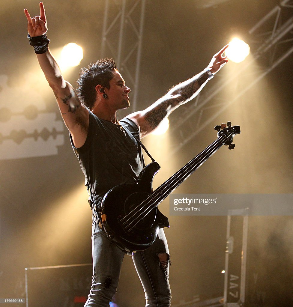 Jason James of Bullet For My Valentine performs at day one of the Lowlands Festival on August 16, 2013 in Biddinghuizen, Netherlands.