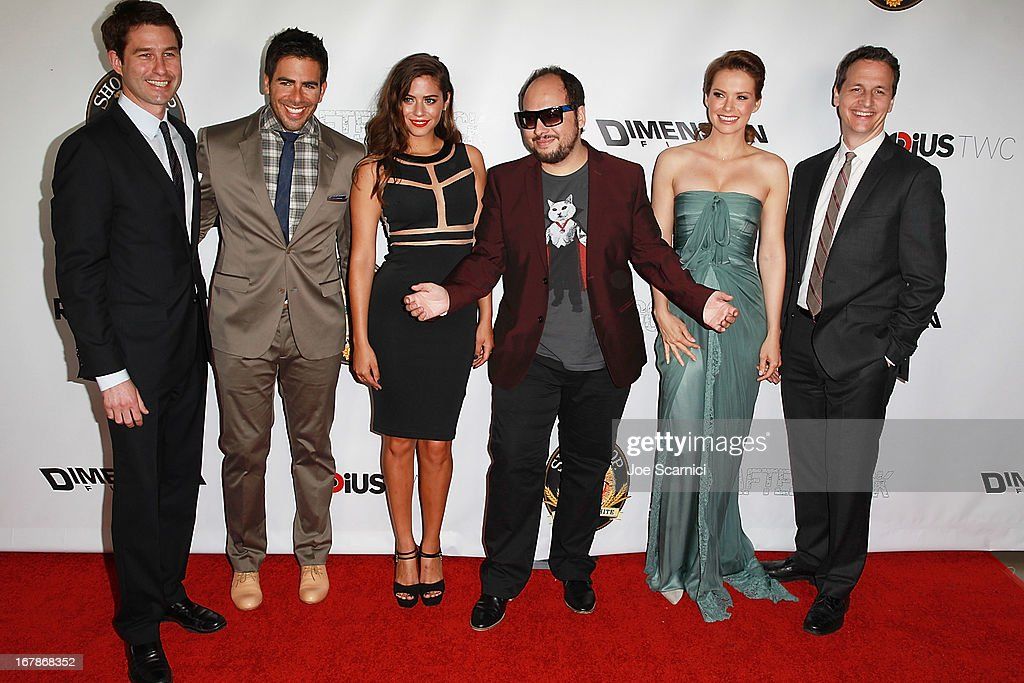 Jason Janego Eli Roth Lorenza Izzo Nicolas Lopez Andrea Osvart and Tom Quinn arrive at the 'AFTERSHOCK' premiere presented by Dimension Films and...