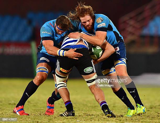 Jason Jenkins and Jannes Kirsten of the Blue Bulls during the Currie Cup match between Vodacom Blue Bulls and DHL Western Province at Loftus Versveld...