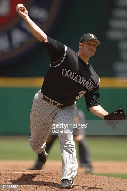 Jason Jennings of the Colorado Rockies pitches during a baseball game against the Washington Nationals on June 15 2006 at RFK Stadium in Washington...