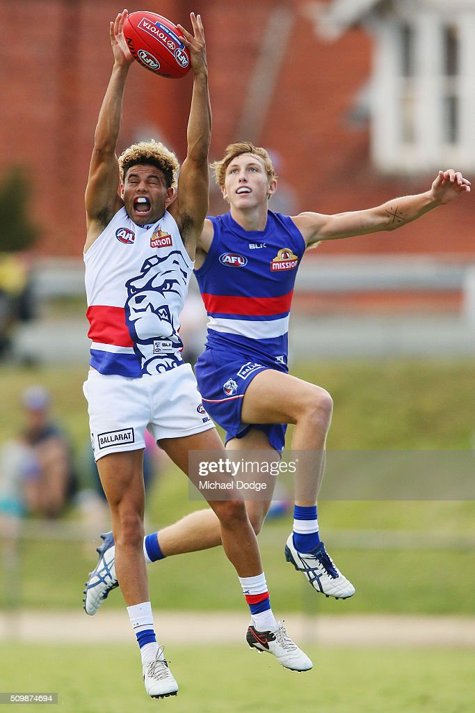 Jason Johannisen of the Bulldogs (L) competes for the ball against Mitch Honeychurch of the Bulldogs during the Western Bulldogs AFL intra-club match at Whitten Oval on February 13, 2016 in Melbourne, Australia.