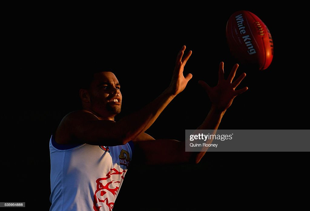 Jason Johannisen of the Bulldogs marks during a Western Bulldogs AFL training session at Whitten Oval on May 31, 2016 in Melbourne, Australia.