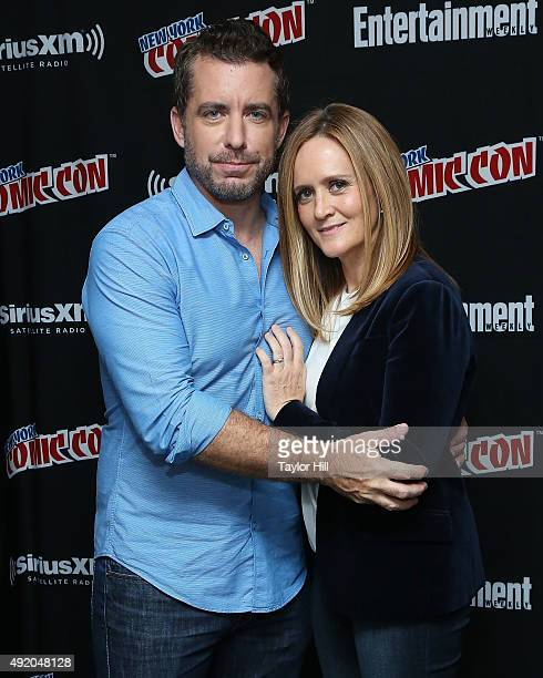 Jason Jones and Samantha Bee visit the SiriusXM Studios during New York ComicCon at The Jacob K Javits Convention Center on October 9 2015 in New...