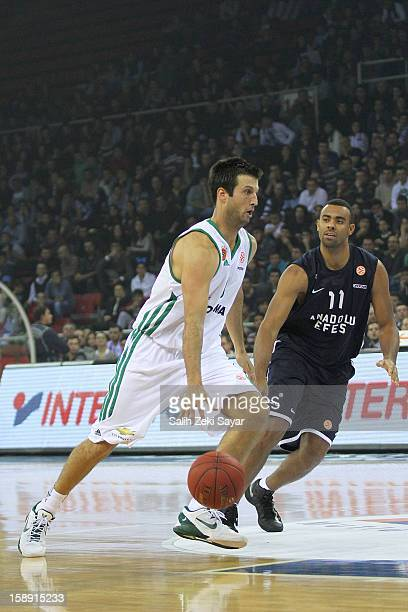 Jason Kapono of Panathinaikos Athens competes with Joshua Shipp of Anadolu Efes during the 20122013 Turkish Airlines Euroleague Top 16 Date 2 between...