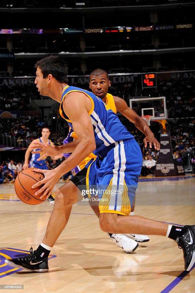 Jason Kapono #22 of the Golden State Warriors drives to the basket against the Los Angeles Lakers on October 9, 2014 at the Staples Center in Los Angeles, California.