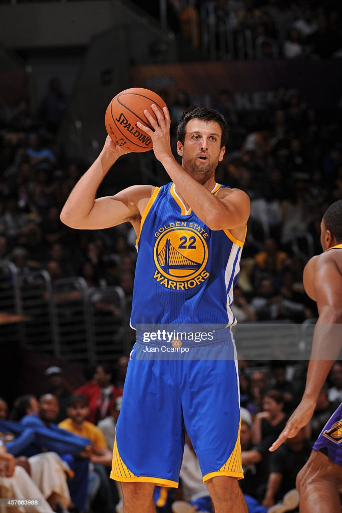 Jason Kapono #22 of the Golden State Warriors handles the ball against the Los Angeles Lakers on October 9, 2014 at the Staples Center in Los Angeles, California.