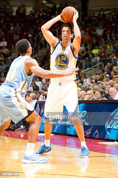 Jason Kapono of the Golden State Warriors looks to pass the ball against the Denver Nuggets at the NBA PreSeason game on October 16 2014 at the Wells...